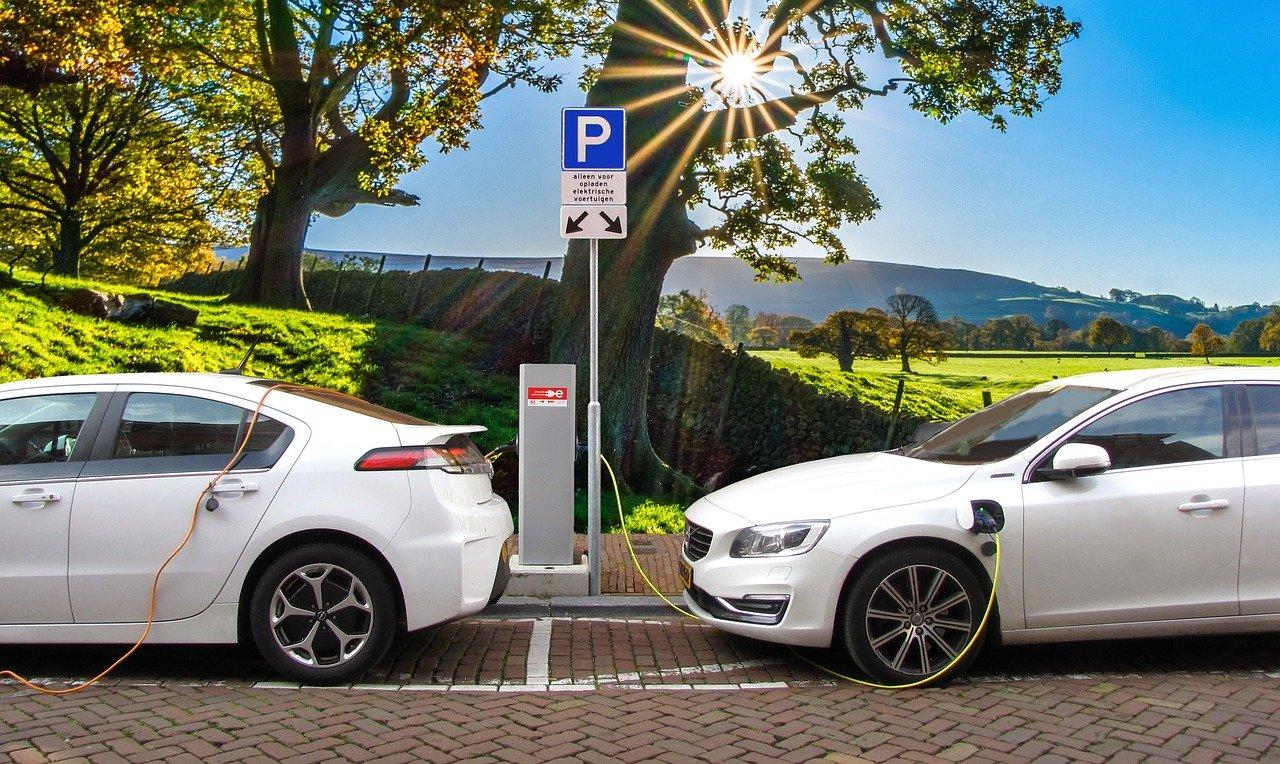 Deux voitures électrique entrain de se recharger